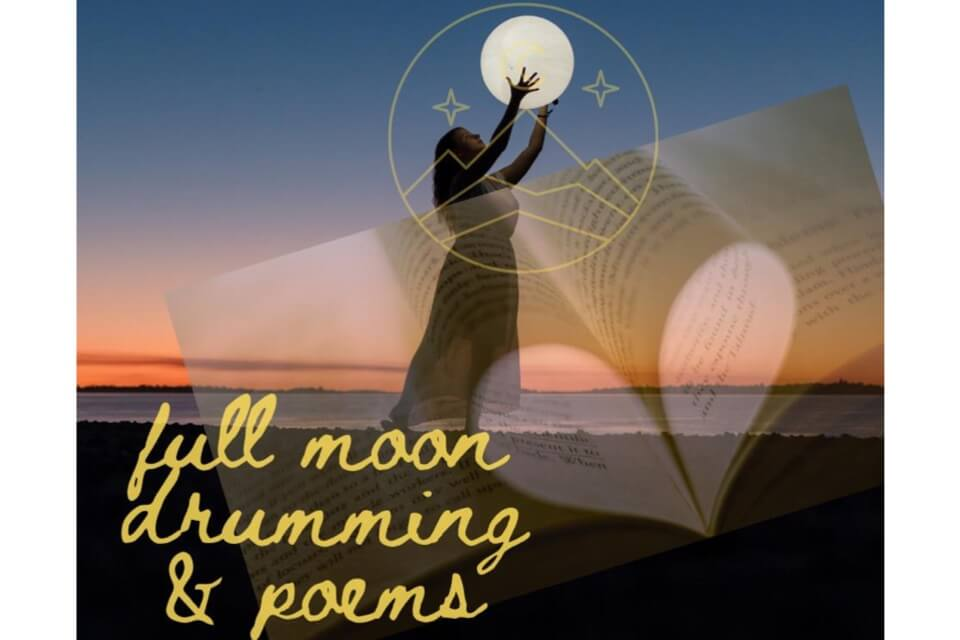 full moon drumming poems event with woman holding moon and beach with sunset in background
